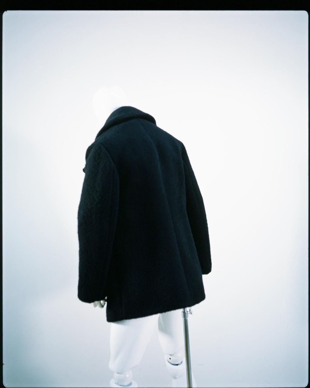 NAMACHEKO SHETLAND WOOL PEA COAT BLACK