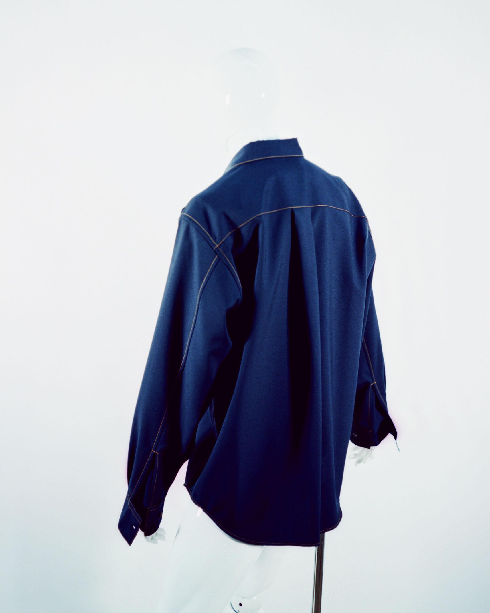 MARNI TROPICAL WOOL SHIRT BLUE NAVY