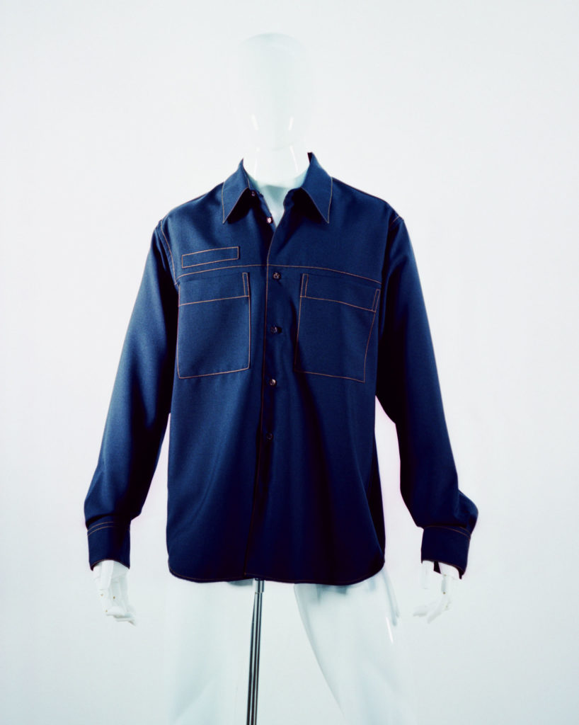 MARNI TROPICAL WOOL SHIRT BLUE NAVY