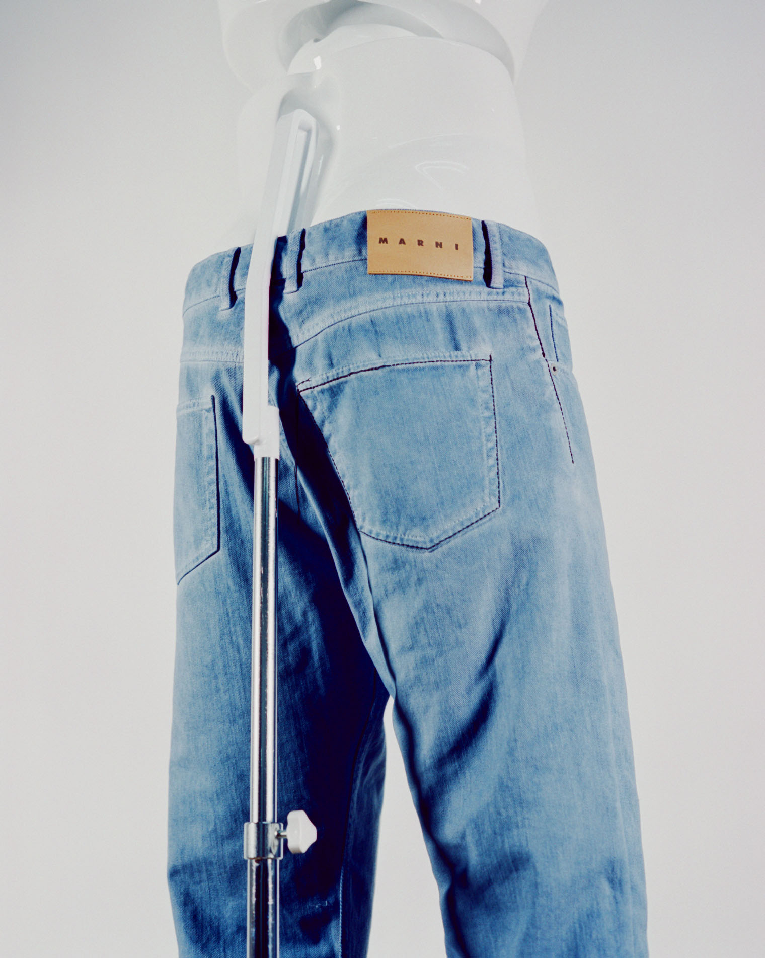 MARNI GARMENT DYED DENIM PANTS AVIO
