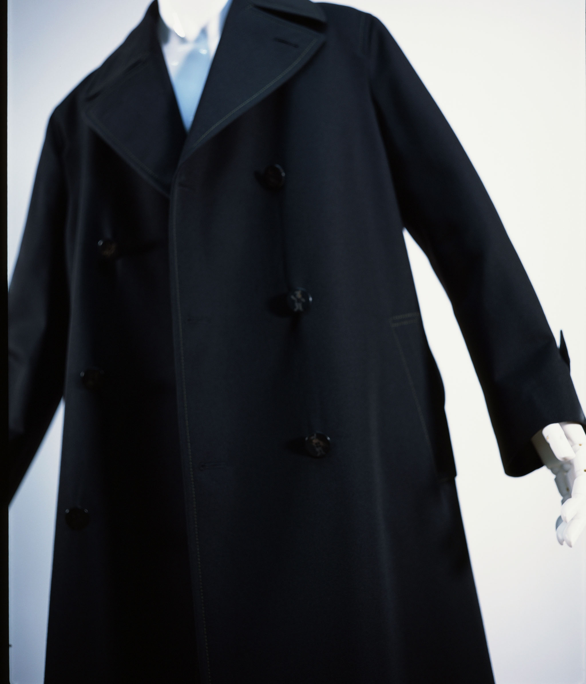 MARNI WOOL GABARDINE DOUBLE COAT BLACK