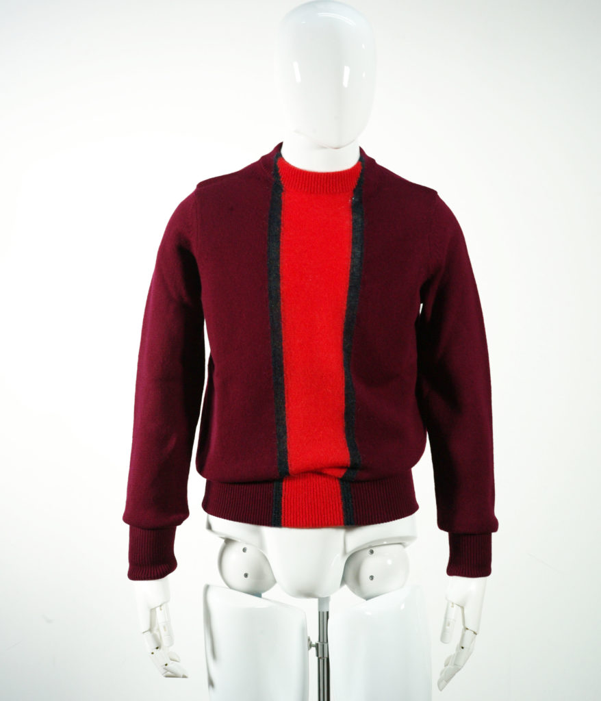 NAMACHEKO STRIPE COARD MOHAIR KNIT BURGUNDY