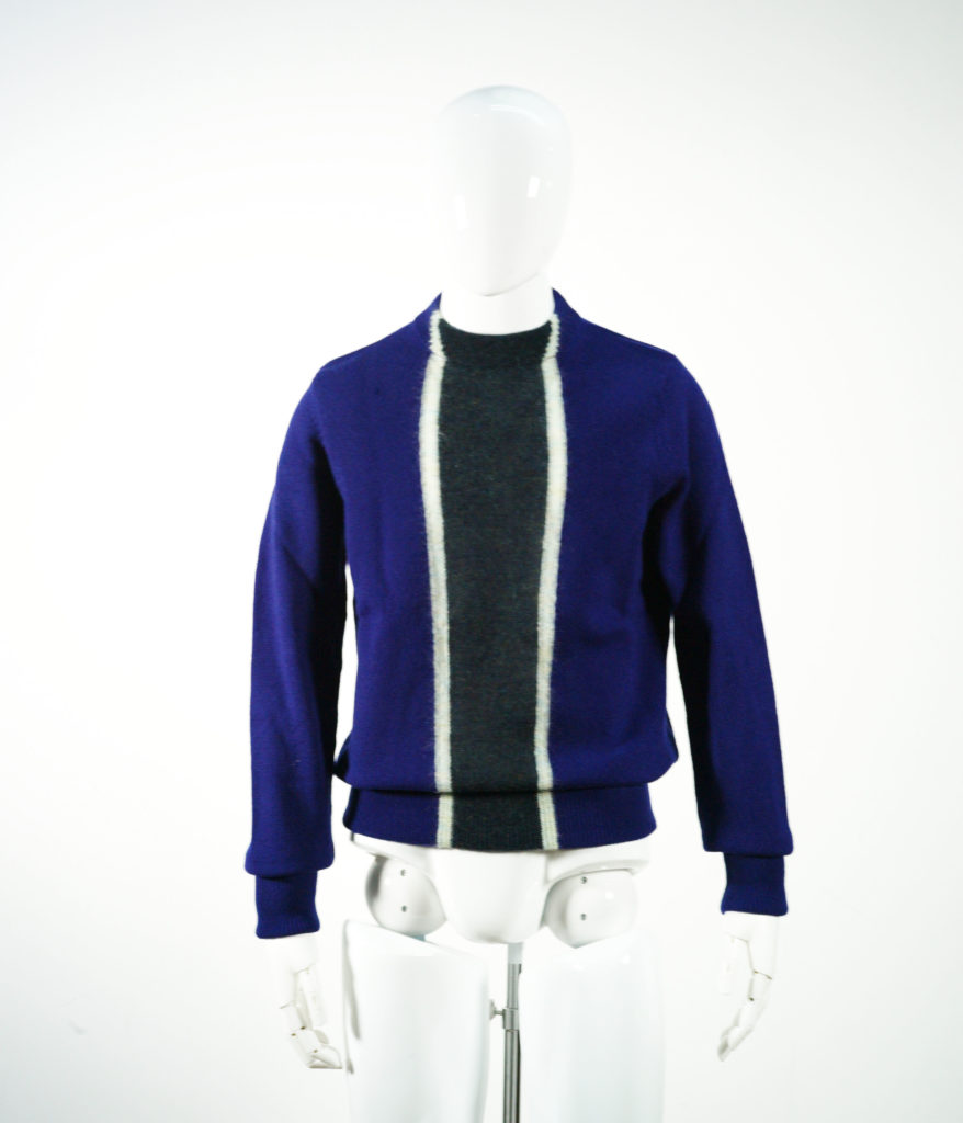 NAMACHEKO STRIPE COARD MOHAIR KNIT BLUE