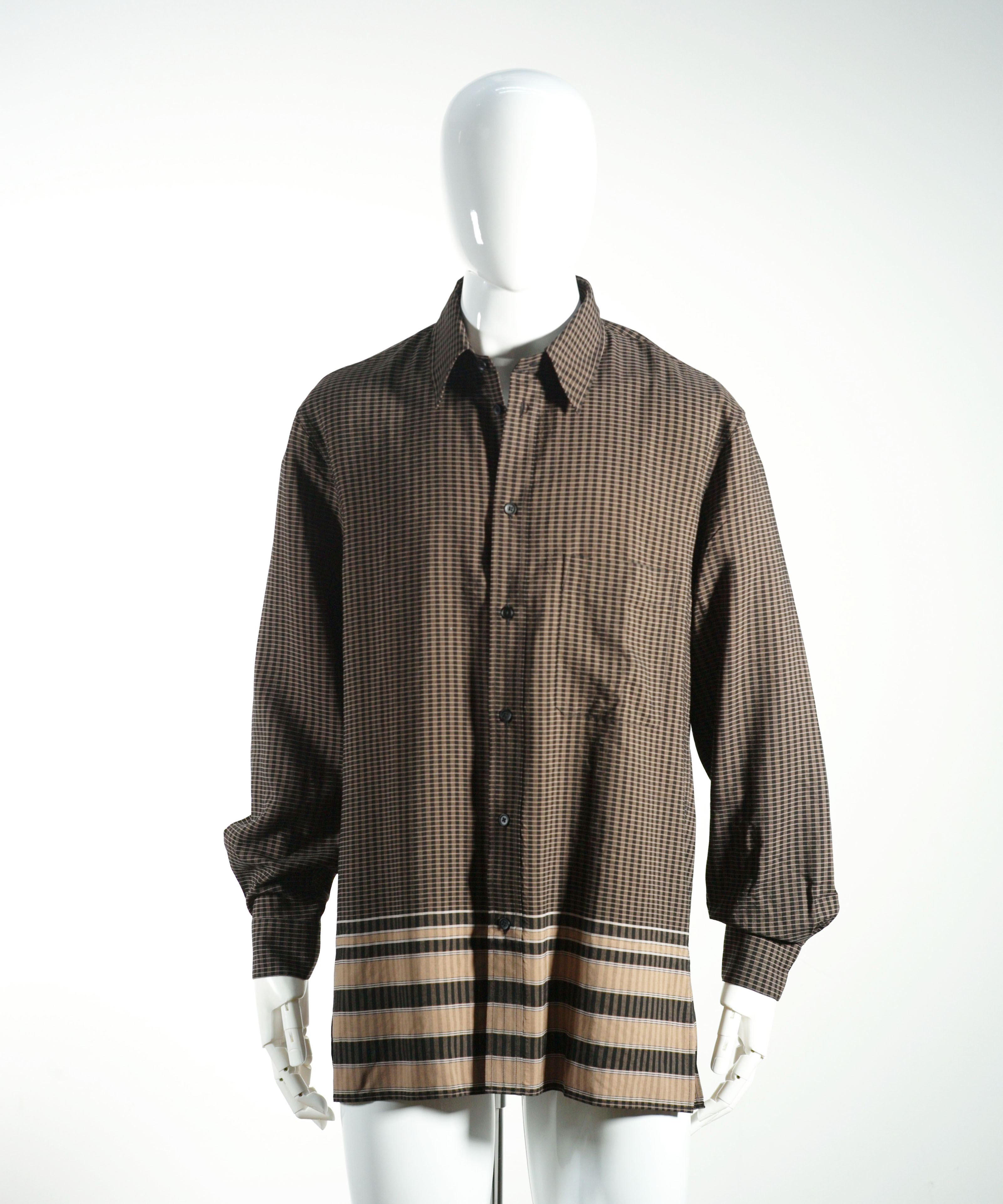LEMAIRE STRAIGHT-COLLAR SHIRT MULTICOLOR