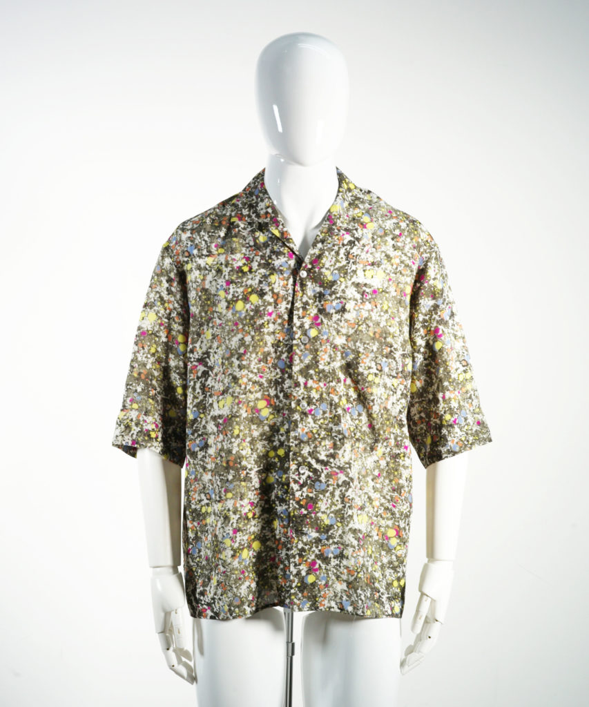 LEMAIRE CONVERTIBLE COLLAR SHIRT SS MULTICOLOR