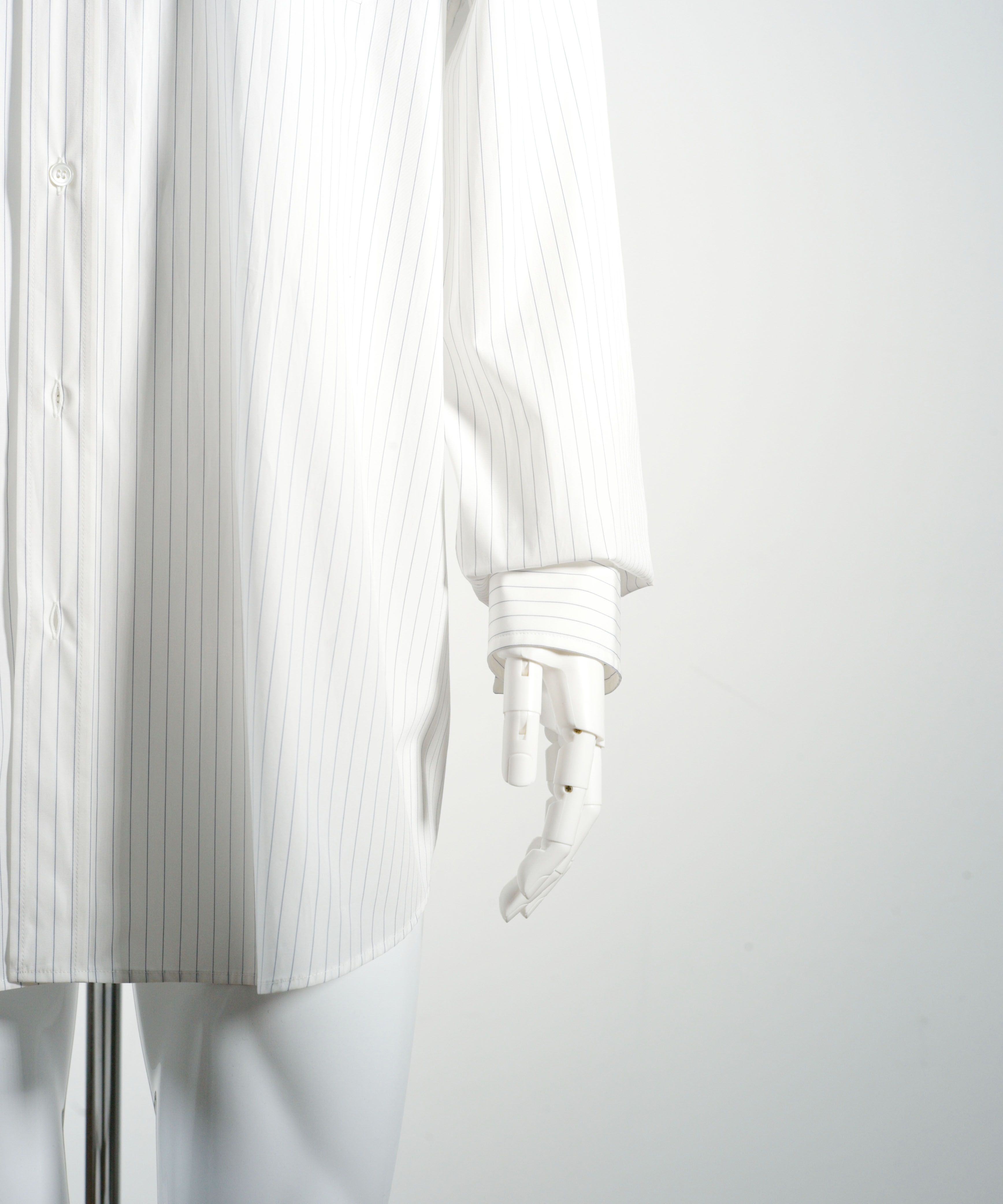 MARNI PINSTRIPE  POPLIN LONG SLEEVE SHIRT WHITE