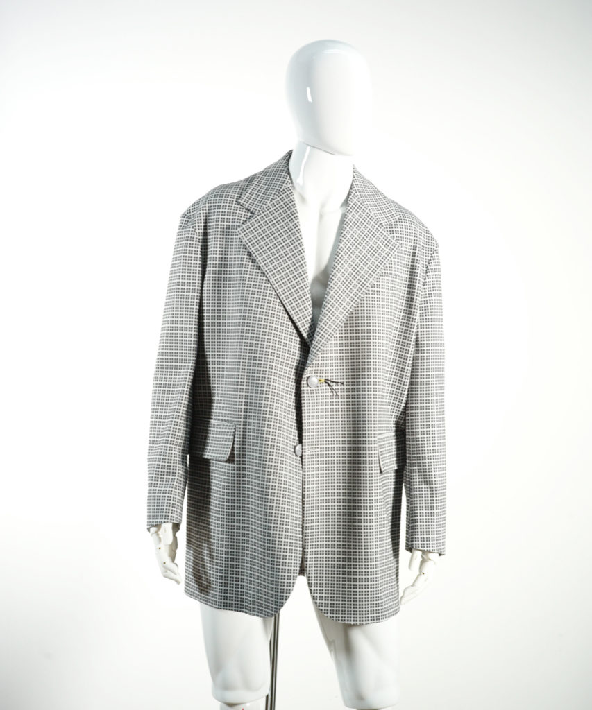 MARNI NOTCHED LAPEL JACKET TECHNO JERSEY WHITE/GREY