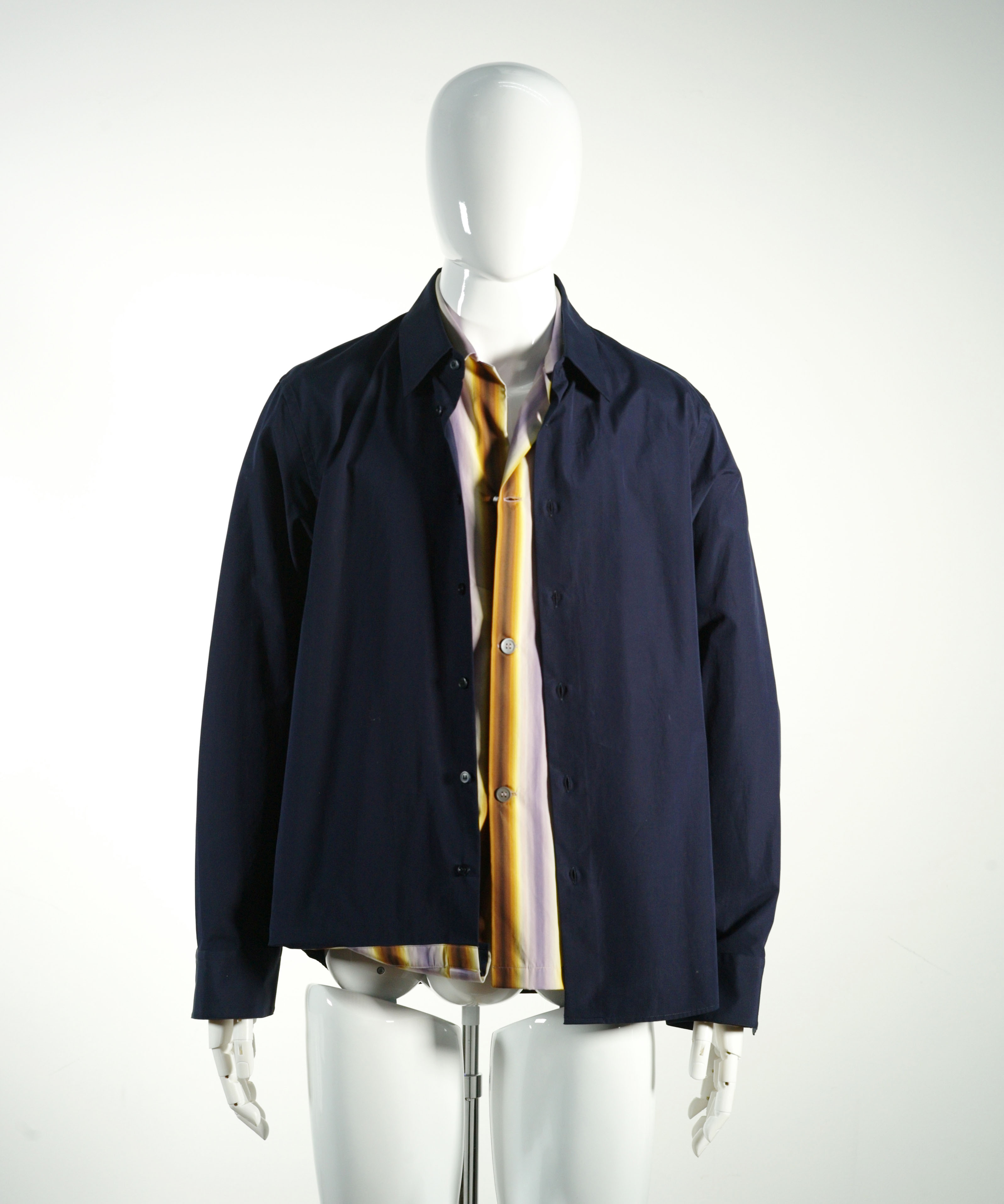 MARNI DOUBLE LAYER DRESS SHIRT BLUE/BROWN/LILAC STRIPE