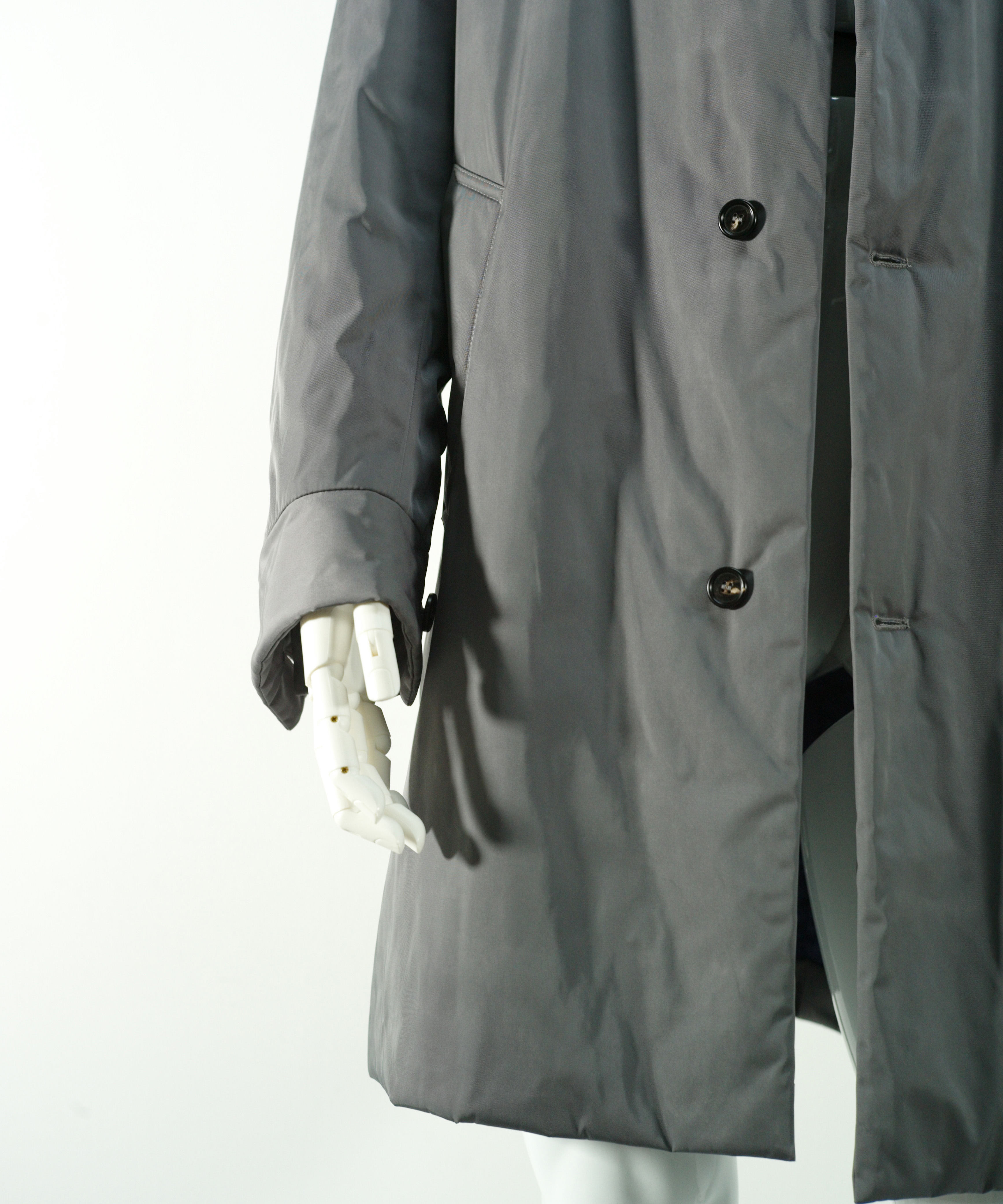 MARNI NYLON TWILL COAT BLUE GREY