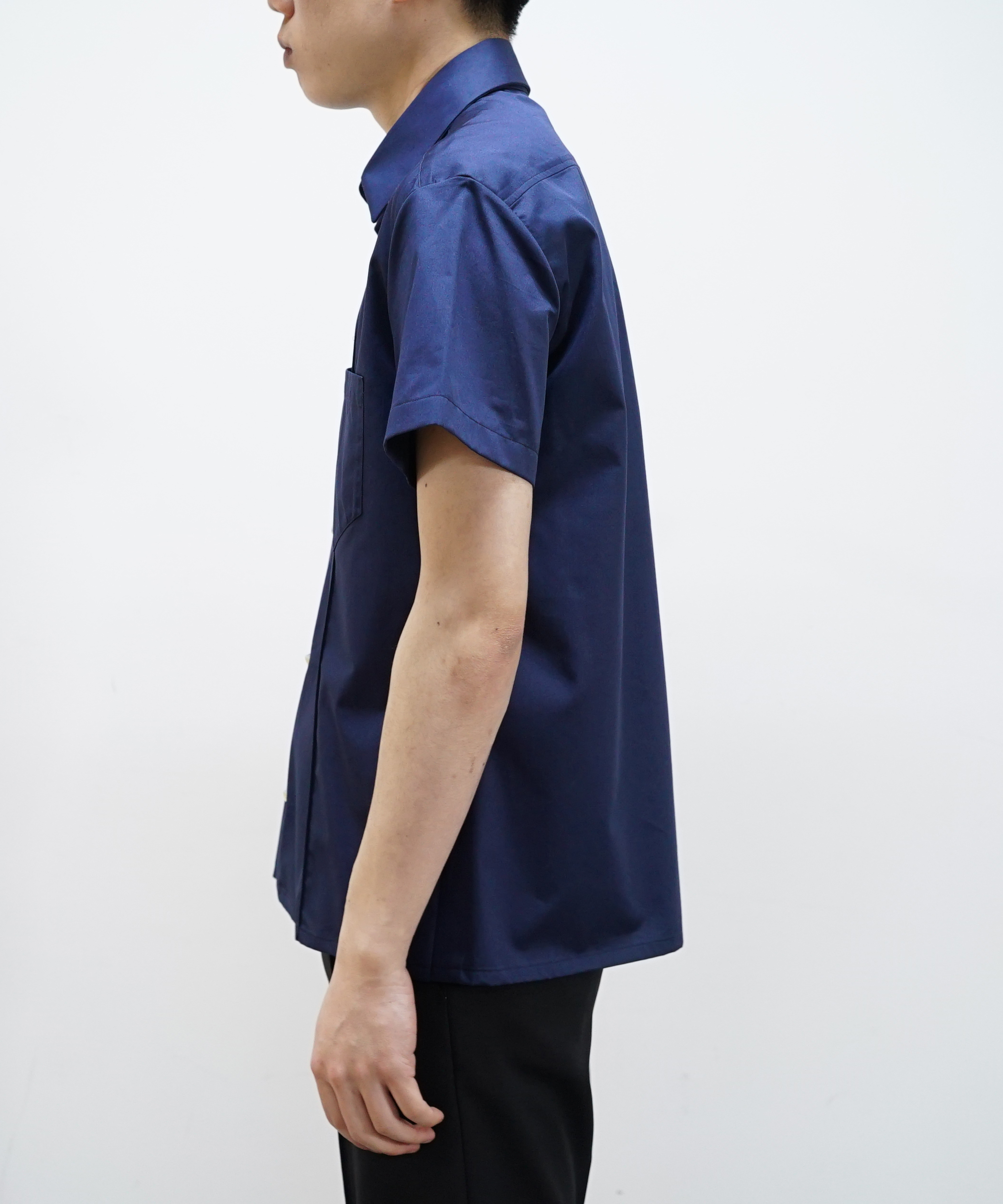 NAMACHEKO KAJAL SHORT SLEEVE SHIRT NAVY
