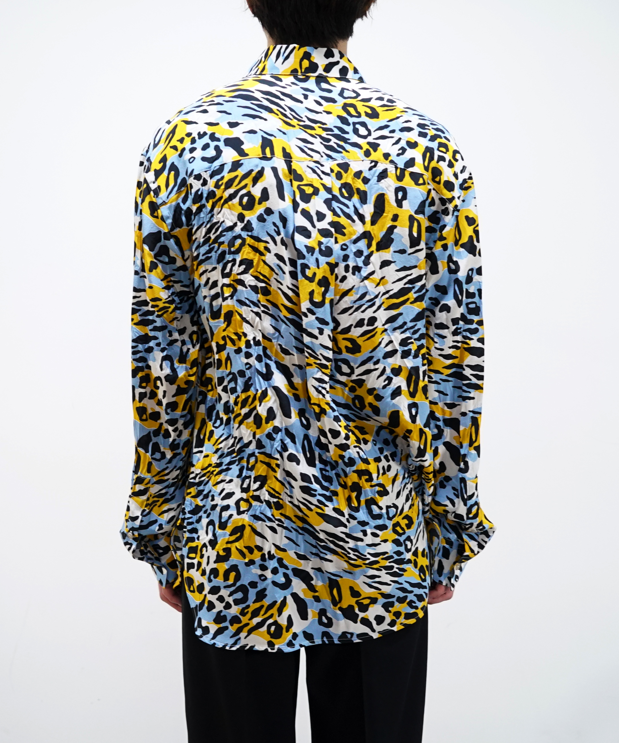 MARNI PATTERN SILK SHIRTS LIGHT BLUE - YELLOW